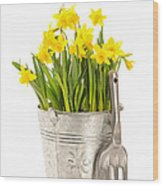 Large Bucket Of Daffodils Wood Print by Amanda Elwell
