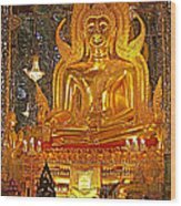 Large Buddha Image In Wat Tha Sung Temple In Uthaithani-thailand Wood Print