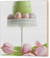 Large Easter Egg With Pink Tulips  Wood Print
