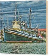 Large Fishing Boat Hdr Wood Print