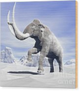 Large Mammoth Walking Slowly Wood Print by Elena Duvernay