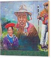 Large Mural In Cusco Peru Part 6 Wood Print