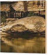 Large Rock In Cumberland River Wood Print