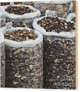 Large Sacks With Dried Mushrooms Wood Print