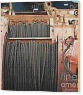 Large Winch With Steel Cable Wood Print