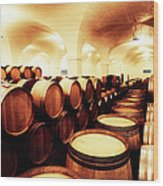 Large Winery Cellar Filled With Oak Wood Print