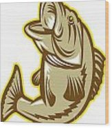 Largemouth Bass Fish Jumping Retro Wood Print by Aloysius Patrimonio
