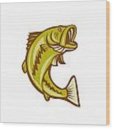 Largemouth Bass Jumping Cartoon Wood Print