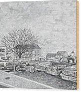 Larry Hill Vintage Car Lot Wood Print