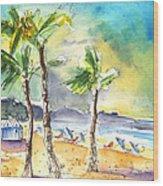 Las Canteras Beach In Las Palmas De Gran Canaria Wood Print