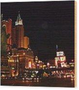Las Vegas At Midnight Wood Print
