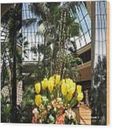 Las Vegas Attrium Architecture N Interior Decorations Casinos Resorts Hotels Flowers Sky Green Signa Wood Print