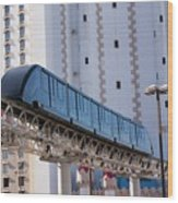 Las Vegas Monorail And Excalibur Hotel Wood Print