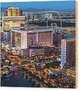 Las Vegas Skyline  At Dusk Wood Print