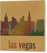 Las Vegas Skyline Watercolor On Parchment Wood Print