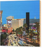 Las Vegas Strip At Dusk With Hotels And Wood Print