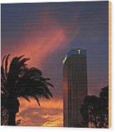 Las Vegas Sunset With Trump Tower Wood Print