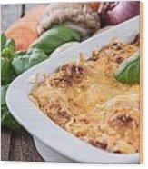 Lasagne In A Gratin Dish Wood Print