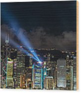 Laser Show In Hk Wood Print