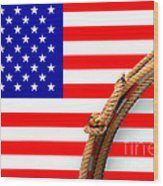 Lasso And American Flag Wood Print