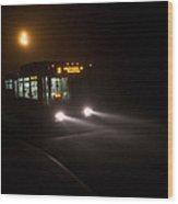 Last Bus In The Fog Wood Print