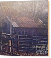Last Foggy Morning On The Farm Wood Print
