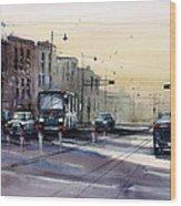 Last Light - College Ave. Wood Print by Ryan Radke