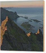 Last Light Illuminates Mountain Ridge Wood Print
