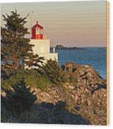 Last Light On Amphritite Lighthouse Wood Print