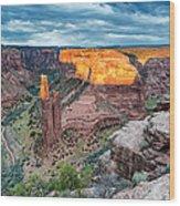 Last Light On Spider Rock Canyon De Chelly Navajo Nation Chinle Arizona Wood Print
