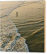 Last Wave - Lone Surfer Waiting For The Perfect Wave In Huntington Beach Wood Print