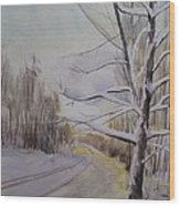 Last Winter Sunset Snow Scene Wood Print
