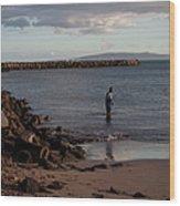 Late Afternoon Angler - Maalaea-maui Wood Print