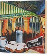 Late At Cafe Du Monde Wood Print