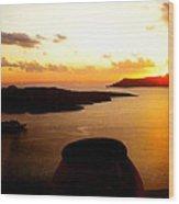 Late Sunset Santorini  Island Greece Wood Print
