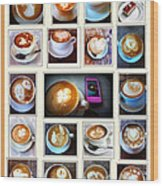 Latte Art Collage Wood Print