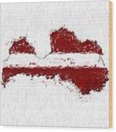 Latvia Painted Flag Map Wood Print