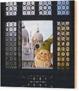 Laughing Gnome In Venice Wood Print
