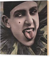 Laughing Pierrot Clown Vintage Art Wood Print
