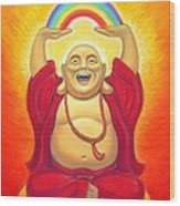 Laughing Rainbow Buddha Wood Print by Sue Halstenberg