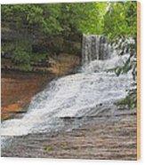 Laughing Whitefish Waterfall Wood Print