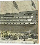 Launch Of Hms. Windsor Castle 140 Guns 1852 Wood Print