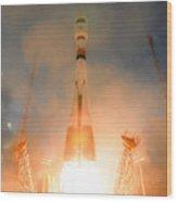 Launch Of Soyuz Vs07 2014 Wood Print