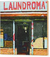 Laundromat 20130731pop Wood Print by Wingsdomain Art and Photography