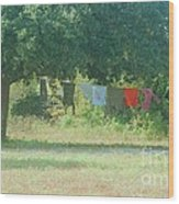 Laundry Hanging From The Tree Wood Print