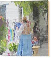 Laundry Line Under The Grape Arbor Wood Print