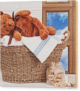 Laundry With Teddy Wood Print