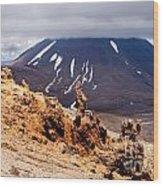 Lava Sculptures And Volcanoe Mount Ngauruhoe Nz Wood Print