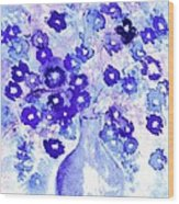Lavender And Blue Impressions Of Spring Wood Print