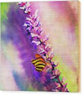 Lavender And Butterlies Wood Print